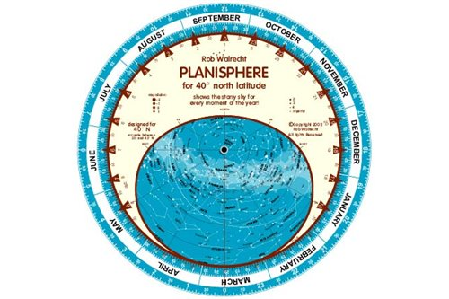 English planisphere for 40ᄚ North