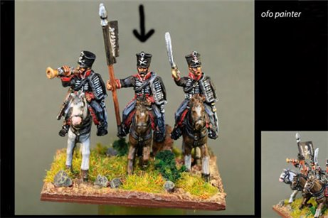 Death''s Head Hussar Standard Bearer  (skull & crossbones on shako)'