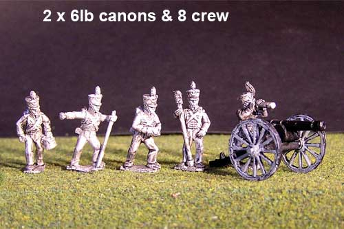2x 6lb Brunswick Foot artillery Battery with British Guns & 8 figures