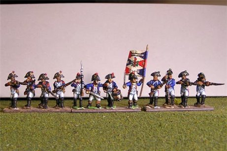Fusiliers with Grenadier Firing Line in Bicorne (1791-1808) Full Dress