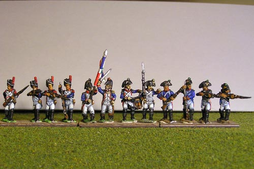 Fusiliers in Bicorne with Grenadiers in Bearskin Firing Line (1791-1808) Full Dress