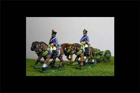 French Artillery Limber with 4 horses and 2 riders
