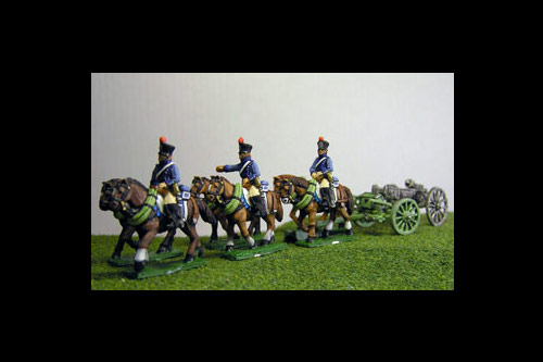 French Artillery Limber with 6 horses and 3 riders plus 1 x 6lb Gun or choose calibre