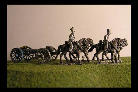 Foot artillery Limber  with 4 horses and 2 riders & 6lb Gun or your choice of caliber