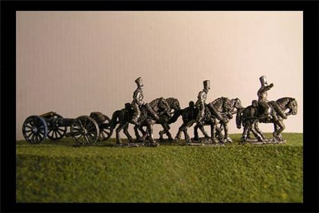 Foot artillery Limber  with 6 horses and 3 riders & 6lb Gun or your choice of caliber