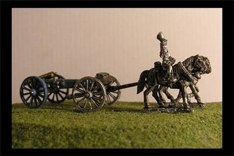 Horse artillery Limber  with 2 horses and 1 rider & 6lb Gun or your choice of caliber