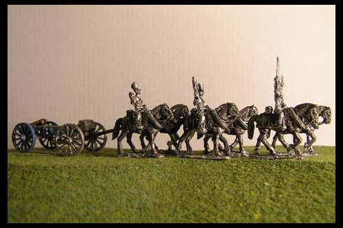 Horse artillery Limber  with 6 horses and 3 riders & 6lb Gun or your choice of caliber