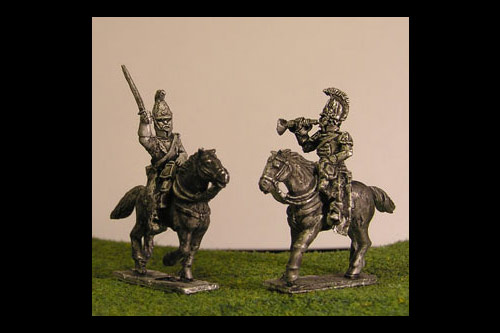 Cuirassier Command Charging x 4 (2 Trumpeters & 2 Officers)