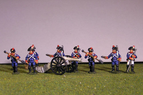 Artillery crew in bicorne and 2 x 12lb Guns
