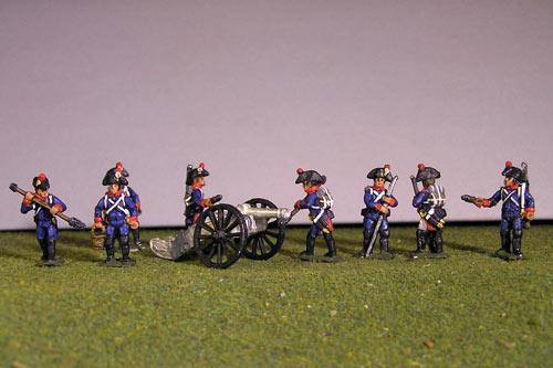 Artillery crew in bicorne and 2 x 6lb Guns