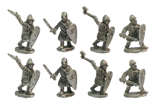 Heavy infantry with swords, axes, etc, XII cent.
