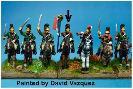 1st Chasseurs à Cheval Eagle Bearer at Waterloo in Helmet x2 figures