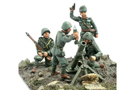 Artillerymen with field mortar.