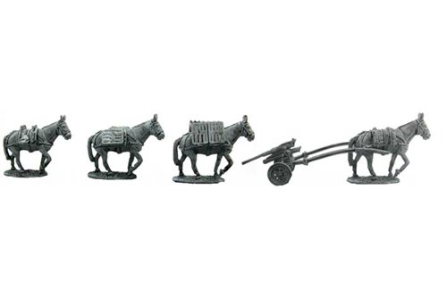 Mules for artillery squad, hauling 47/32 antitank cannon (4 mules & cannon).