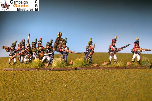 Light Infantry Firing 1800-1807. Side plume, hussar gaiters.