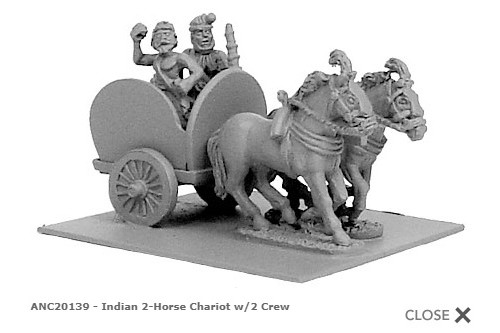 Indian 2-horsed chariot w/ 3 crew