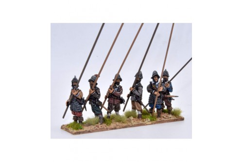 Pikemen, in armour, pike at 45º (6 different figures not including pikes)