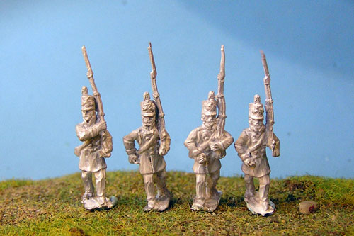 2nd Silesian Landwehr in Stovepipe with cross & coat marching