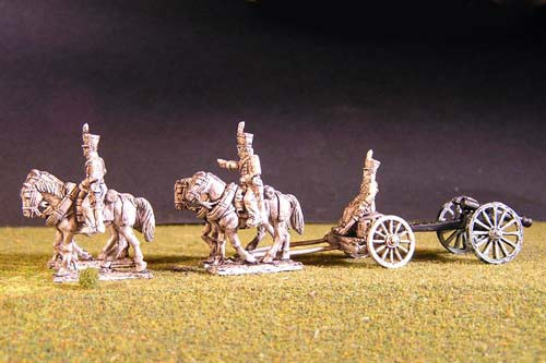Brunswick Foot artillery Limber with 4 horses, 2 riders & 1 sitting driver & 1x 6lb Gun