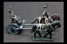 Brunswick Horse artillery Limber with 2 horses, 1 rider & 1 sitting driver