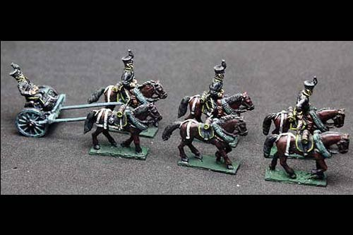 Brunswick Horse artillery Limber with 6 horses, 3 riders & 1 sitting driver