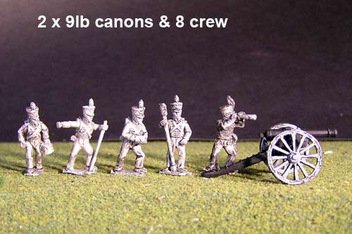 2x 9lb  Brunswick Foot artillery  Battery with  British Guns & 8 figures