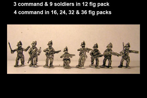 Avantguard Jagers Skirmishing/ Firing Line in Hats x 12 figs with command