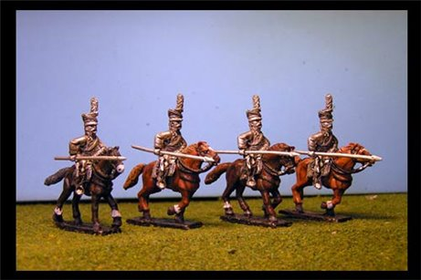 Uhlans Charging with lance down (separate lances included in pack).