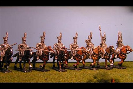Uhlans Charging with Lance Down x 8 with Command (separate lances included in pack).