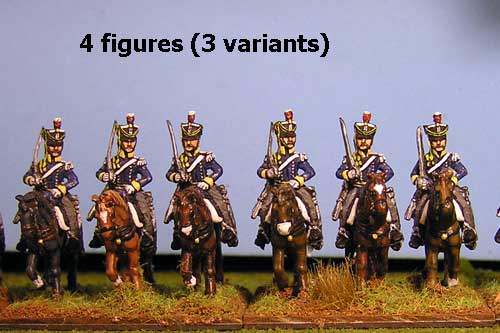 British & KGL Light Dragoons at Rest Sword on Shoulder x 4 (3 variants)