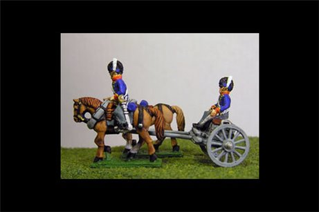 British / KGL Artillery Limber with 2 horses and 1 rider & 1 Sitting Driver