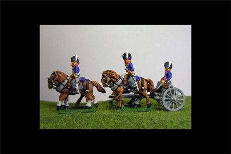 British / KGL Artillery Limber with 4 horses and 2 riders & 1 Sitting Driver