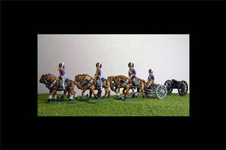 British / KGL Artillery Limber with 6 horses and 3 riders & 1 Sitting Driver plus 1 x 6lb Gun or choose calibre