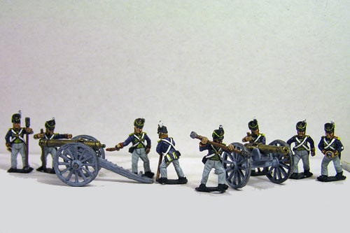 British Battery 9lb, 2 Guns & 8 foot artillery Crew