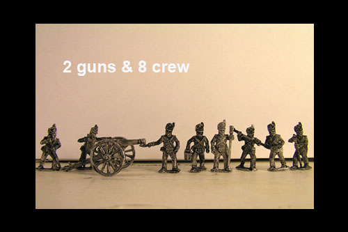 British Battery 6lb, 2 Guns & 8 foot artillery Crew