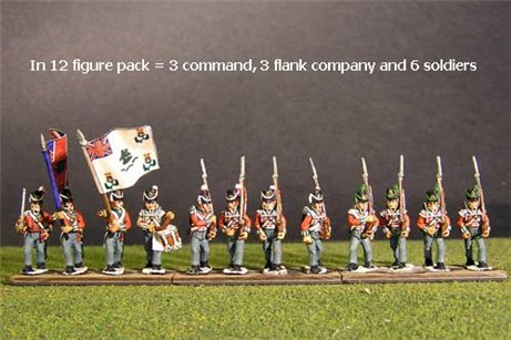 British / KGL Line Infantry Marching Belgic Shako 12 figs