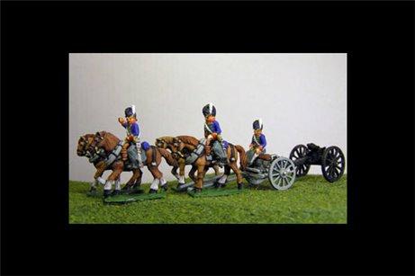 Peninsular British / KGL Artillery Limber with 4 horses and 2 riders & 1 Sitting Driver plus 1 x 6lb Gun or choose calibre