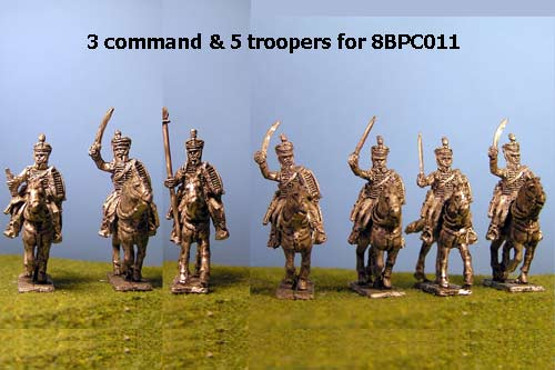 British / KGL Hussars in Pelisse & Shako Charging x 8 with Command