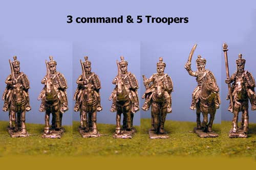 British / KGL Hussars in Pelisse & Shako At Rest x 8 with Command