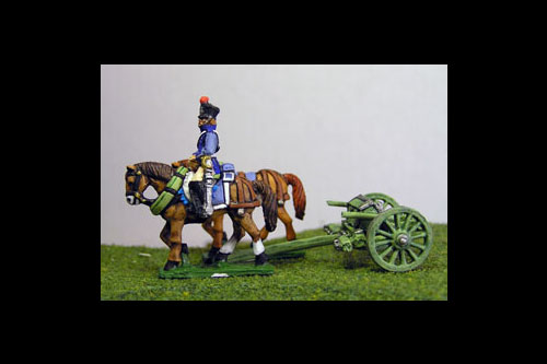 French Artillery Limber with 2 horses and 1 rider