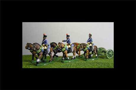 French Artillery Limber with 6 horses and 3 riders