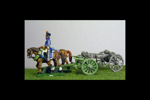French Artillery Limber with 2 horses and 1 rider plus 1 x 6lb Gun or choose calibre