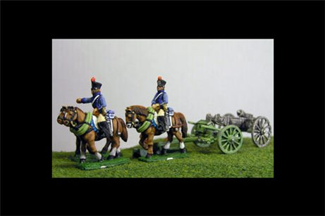 French Artillery Limber with 4 horses and 2 riders plus 1 x 6lb Gun or choose calibre