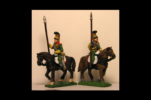 French Line Lancers in Helmet & Blanket Roll Lance upright (x4) (2 variants)