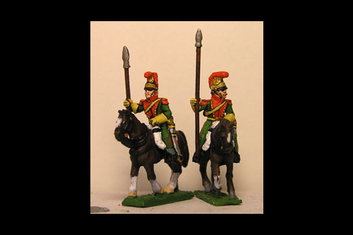 French Line Lancers Elite Company in Helmet at Rest Lance upright (x2) (2 variants)