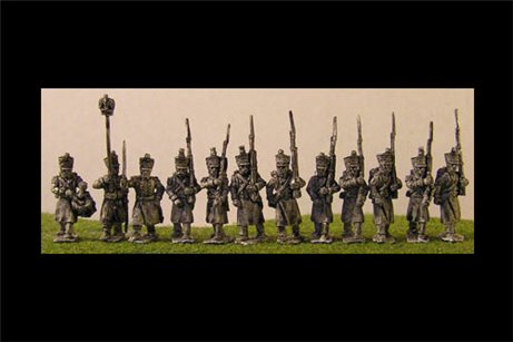 French Infantry in Greatcoat with Eagle Bearer & Command Marching. 12 figs