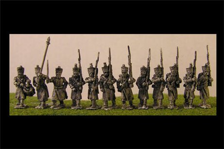 French Infantry in Greatcoat with Flag Pole Bearer & Command Marching. 12 figs