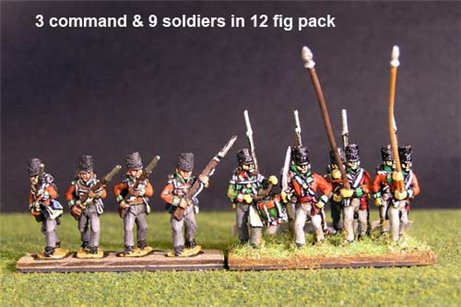 Hanover Line Advancing Covered Belgic Shako (& Landwehr Bns Quackenbruck, Hildensheim y Peine) with Command