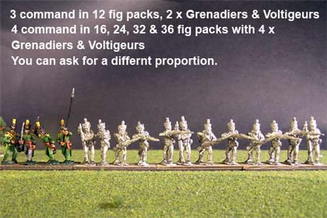 1st Rgt Firing Line, Centre Companies Tuft Plume, Grenadiers with Shako Chords & Voltigeurs with Plumet.