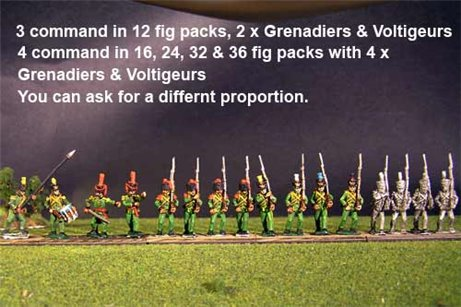 2nd Rgt Marching, Centre Companies Tuft Plum, Grenadiers in Colpack & Voltigeurs Plume & Epaulettes.